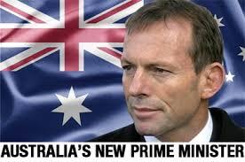 Abbott with Australian flag